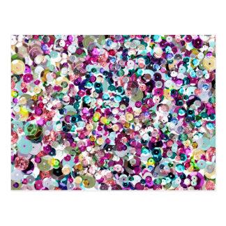 Sequin-Glitzern-Regenbogen Postkarte