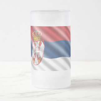 Serbische Flagge Mattglas Bierglas