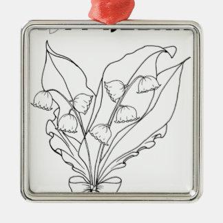serbisches kyrillisches Maiglöckchen Silbernes Ornament