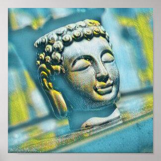 Serene Buddha in den Schatten von aquamarinem Poster
