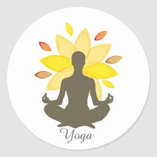 Serene holistische Meditations-Yoga-Lotos-Pose Runder Aufkleber