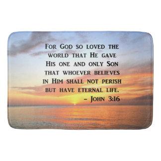 SERENE SONNENAUFGANG-JOHN-3:16 FOTO-ENTWURF BADEMATTE
