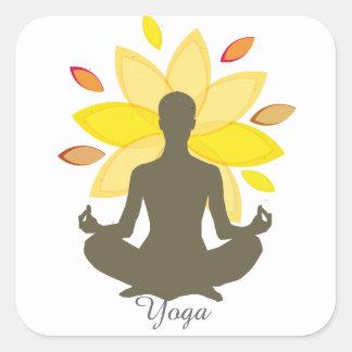 Serene Yoga-Lotos-Pose Quadratischer Aufkleber
