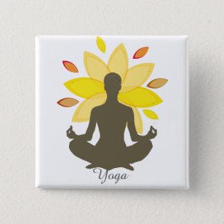 Serene Yoga-Lotos-Pose Quadratischer Button 5,1 Cm