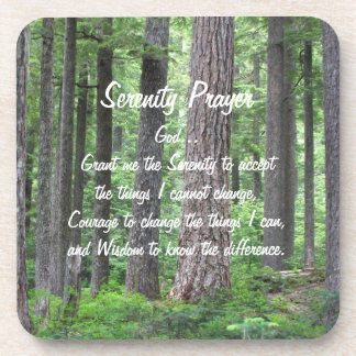 Serenity-Gebets-Grün-WaldFoto-Untersetzer-Set Getränkeuntersetzer