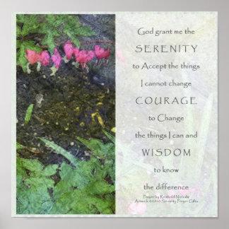 Serenity-Gebets-Rosa-Blumen-Platten-Druck Poster