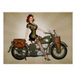 Sergeant Davidson Army Motorcycle Pinup Posterdruck