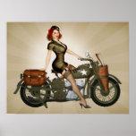 Sergeant Davidson Army Motorcycle Pinup Posterdruck