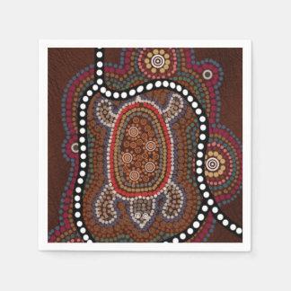 servietten mit schildkröte im aborigines stil