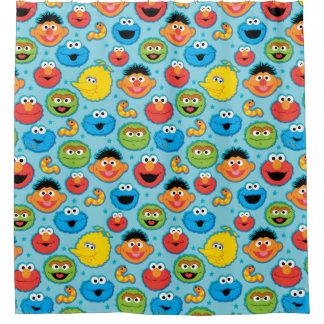 Sesame Street-Gesichts-Muster auf Blau Duschvorhang