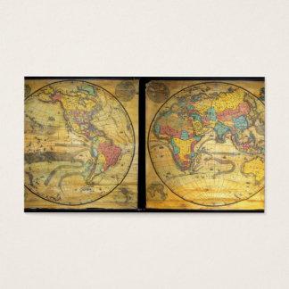 Set seltene Hemisphäre-Wand-Karten C. 1858 Visitenkarte