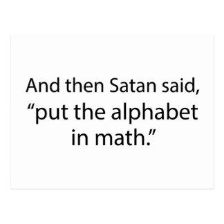 Setzen Sie das Alphabet in Mathe ein Postkarte