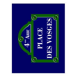 Setzen Sie DES Vosges, Paris-Straßenschild Postkarte