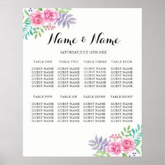 Setzendes 8 Tabellen-Plakat, das BlumenWasserfarbe Poster