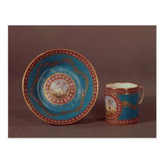 Sevres Blau celeste Kaffee-Tasse und Untertasse, Postkarte