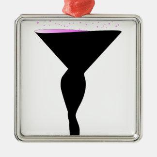 Sexy Champagne-Glas Quadratisches Silberfarbenes Ornament