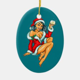 sexy Weihnachtspinupmädchen Keramik Ornament