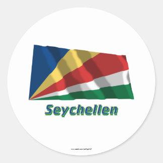 Seychellen Fliegende Flagge MIT Namen Runde Sticker