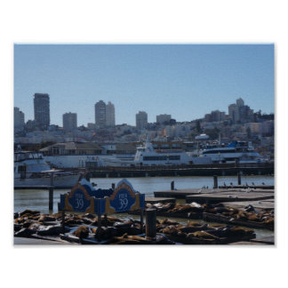 SF Stadt-Skyline u. Seelöwe-Plakat des Pier-39 Poster