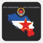 SFR Jugoslawien - Karte - Emblem - Quadratischer Aufkleber