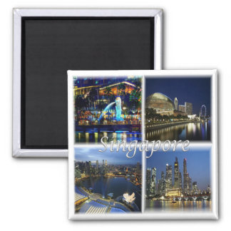 SG * Singapur - Singapur bis zum Nacht Quadratischer Magnet