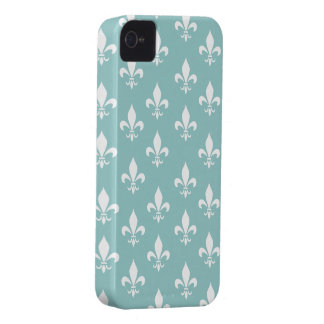Shabby Chic-Aqua-blaues Lilien-Muster Case-Mate iPhone 4 Hüllen