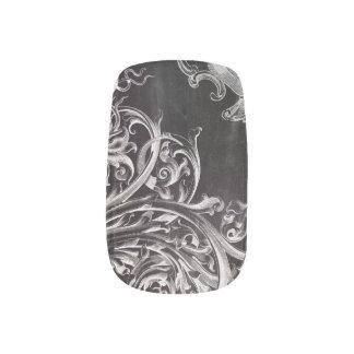 Shabby Chic blühen Wirbelstafelmonogramm Minx Nagelkunst