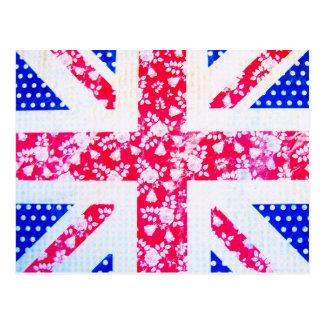 Shabby Chic-britische Flagge - Polka-Punkte und Postkarte