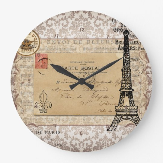shabby chic eiffel turm paris vintager gro e wanduhr zazzle. Black Bedroom Furniture Sets. Home Design Ideas