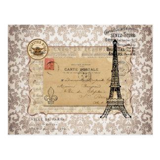 Shabby Chic-Eiffel-Turm Paris Vintager Postkarte
