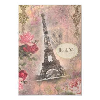 Shabby Chic-Eiffelturm u. -ROSEN, die Wedding 8,9 X 12,7 Cm Einladungskarte