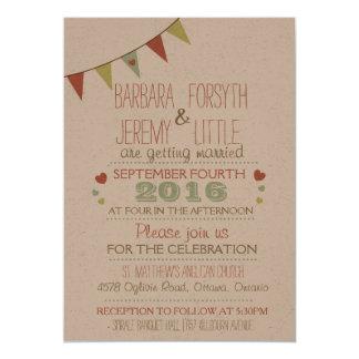 Shabby Chic-Flaggen-Hochzeits-Einladung 12,7 X 17,8 Cm Einladungskarte