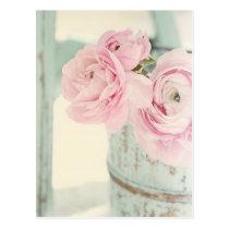 Shabby Chic-Krug rosa Blumen Postkarten