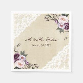Shabby Chic-lila Blumenspitze-Hochzeit Servietten