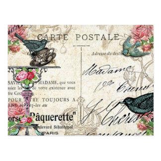 Shabby Chic-Paris-Drossel-Postkarte Postkarte