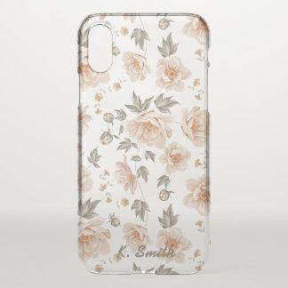 Shabby Chic-Pfirsich-Kohl-Rosen-Blumen-Muster iPhone X Hülle