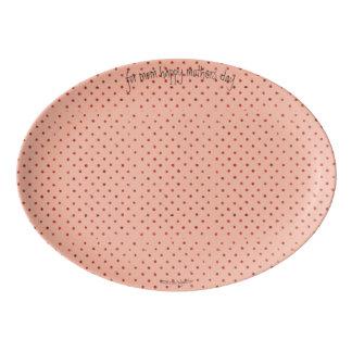 Shabby Chic-rosa Polka-Punkt Porzellan Servierplatte