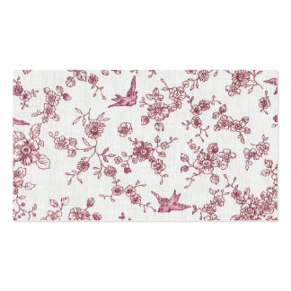 Shabby Chic-rosa Vintage Vogel-Blumenmuster Visitenkarten Vorlage