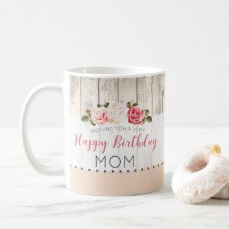 Shabby Chic-Rosen-rustikaler hölzerner Kaffeetasse