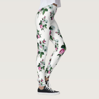 Shabby Chic-Vintages rosa und weißes Rosen-Muster Leggings