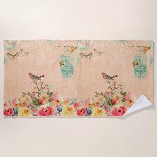 Shabby Chic, Vogel, Schmetterling, Spitze, mit Strandtuch