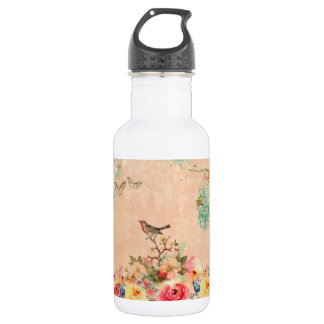 Shabby Chic, Vogel, Schmetterling, Spitze, mit Trinkflasche