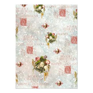 Shabby Chic-Weihnachtsbell-Blau-Rose 14 X 19,5 Cm Einladungskarte