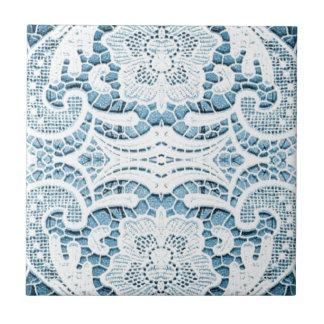 Shabby Chicblumenaqua blaue böhmische Chicspitze Keramikfliese