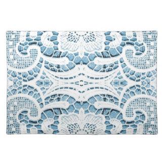 Shabby Chicblumenaqua blaue böhmische Chicspitze Stofftischset