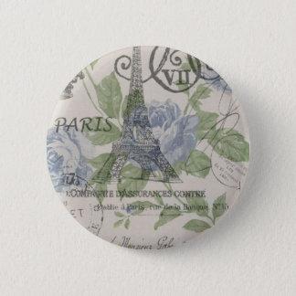 Shabby Chicland blauer Blumenturm paris Eiffel Runder Button 5,1 Cm