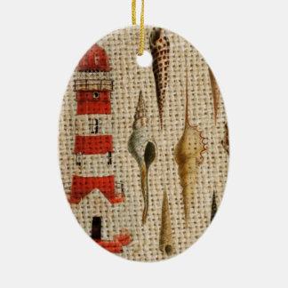 Shabby Chicleinwand Küstenseashellleuchtturm Keramik Ornament