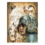 shabbychic Posh Vintage Paris-Dame Fashion Postkarte