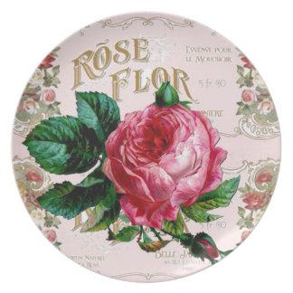 SHABBYCHIC Vintages Rosa englischer Rose Party Teller