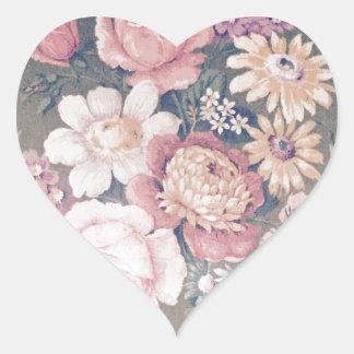 Shaby Vintage flower SIRAdesign Herz-Aufkleber